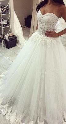 Forme Princesse Traîne moyenne Col en cœur Tulle Robes de mariée avec Dentelle_1