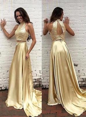 Robe de soirée d'or robe biling deux pièces tendance pailleté en haute longueur sol_1