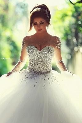 Forme Marquise Traîne mi-longue Col en cœur Tulle Robes de mariée avec Cristal_1