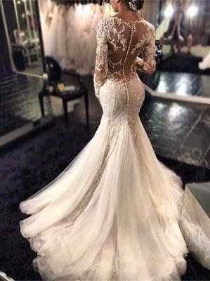 Forme fourreau robe de mariée élégante manche longue dentelle transparent traîne maxi_1