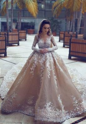 Forme Marquise Traîne mi-longue Col U profond Robes de mariée avec Perle_1