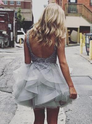 Robe de soirée princesse courte tulle avec dentelle | Robe de cocktail mini princesse chic col en V_3
