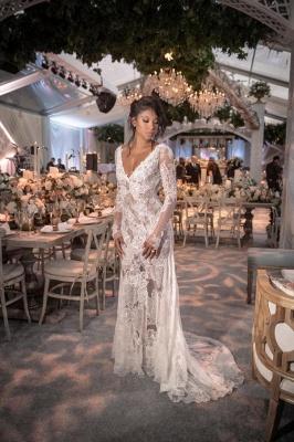 Robe de mariée sirène dentelle col en V manches longues | Robe de mariage trompette dos nu longue élégante_3
