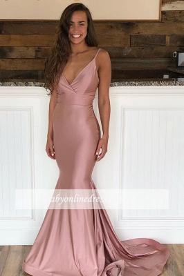 robe de soirée longue sirène col V avec bretelles traîne_2