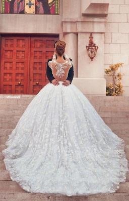 Forme Marquise Traîne moyenne Col U profond Dentelle 2020 Robes de mariée avec Dentelle_2