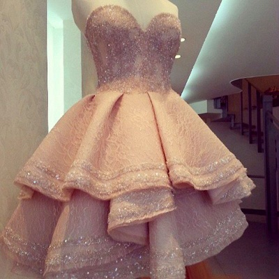 Forme princess robe de cérémonie courte pailleté col en cœur haute couture_2