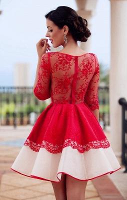 Robe de fête robe rouge courte en dentelle exquis motif transparent couleurs au choix_2