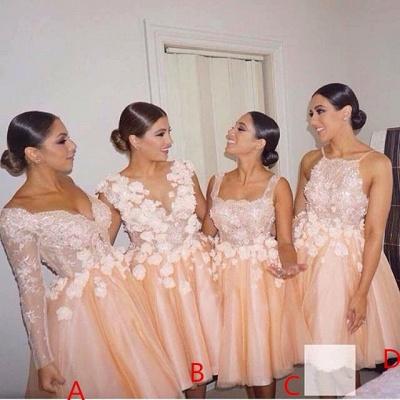 Forme Princesse Quatre Modèles Robe de Demoiselle d'Honneur Dentelle Fleurs_2