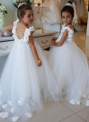 Robe de demoiselle d'honneur enfant princesse en tulle avec fleurs | Robe fillette princesse longue élégante avec perles