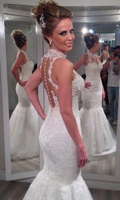 Forme Sirène/Trompette Longueur ras du sol Col montant Tulle Nouveau Robes de mariée sirène avec Dentelle_3