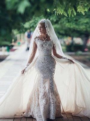 Robe de mariée sirène longue dentelle manches longues | Robe de mariage trompette dentelle_1