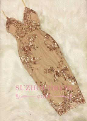 Forme fourreau robe de soirée bretelle fine courte avec pailleté_1
