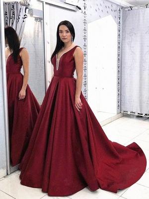 Robe de soirée |Robe de soirée forme Princesse Longueur mollet Satin col V_1