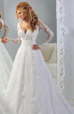 Forme Princesse Traîne moyenne Col en cœur Dentelle Robes de mariée avec Perle_1