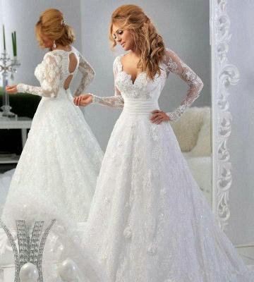 Forme Princesse Traîne moyenne Col en cœur Dentelle Robes de mariée avec Perle_3