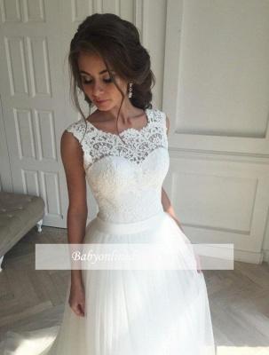 Forme Princesse Traîne moyenne Sans Manches Dentelle Robe de Mariée Simple_3
