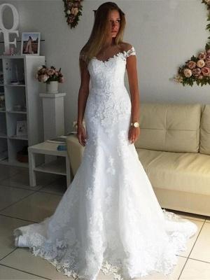 Robe de mariée sirène dentelle épaules nues | Robe de mariage trompette longue élégante_1