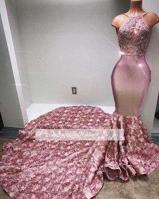 Forme Sirène/Trompette Traîne mi-longue Bretelles spaghetti Satin Elastique Robes de bal 2020 avec Fleurs_1