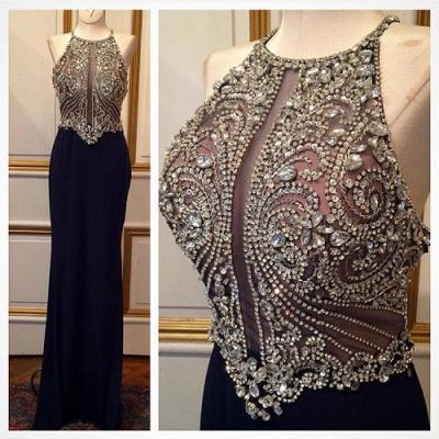 Luxe robe de soirée bretelle fine en cristal et perle couleurs au choix_4