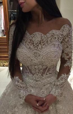 Forme princesse robe de mariée en dentelle délicat avec perle et broderie exquis traîne cathédrale_4