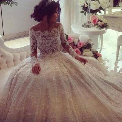 Forme princesse robe de mariée en dentelle délicat avec perle et broderie exquis traîne cathédrale_3