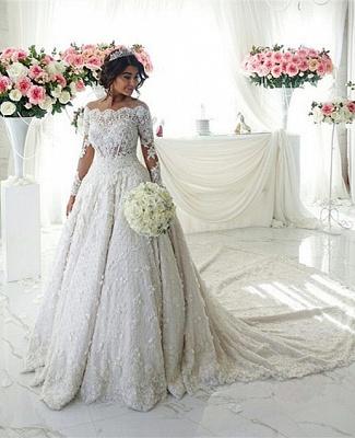 Forme princesse robe de mariée en dentelle délicat avec perle et broderie exquis traîne cathédrale_6