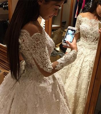 Forme princesse robe de mariée en dentelle délicat avec perle et broderie exquis traîne cathédrale_5