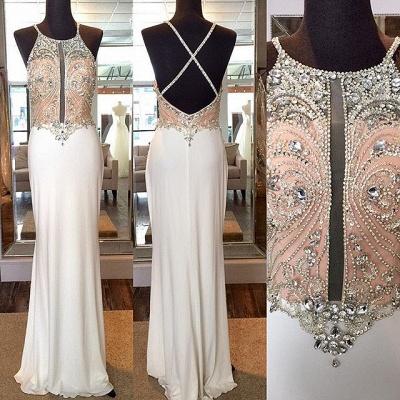 Luxe robe de soirée bretelle fine en cristal et perle couleurs au choix_5