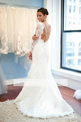 Forme Fourreau alayage/Pinceau train Col U profond Robes de mariée 2020 avec Dentelle_2