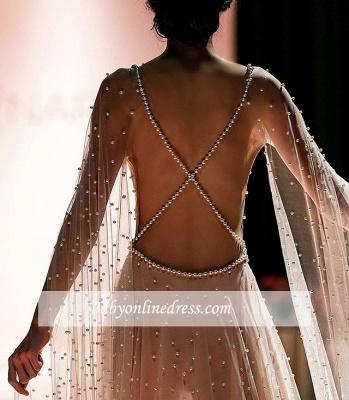 Robe de bal A-ligne manches ouvertes | Robe de soirée ligne A avec perles_5