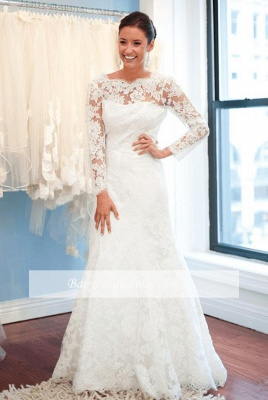 Forme Fourreau alayage/Pinceau train Col U profond Robes de mariée 2020 avec Dentelle_3