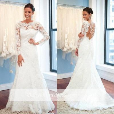 Forme Fourreau alayage/Pinceau train Col U profond Robes de mariée 2020 avec Dentelle_1
