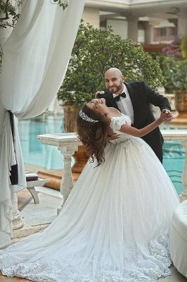 Forme princesse robe de mariée en dentelle délicat avec bretelle en broderie exquis longueur sol_2