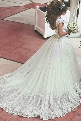 Forme princesse robe de mariée en dentelle délicat avec bretelle en broderie exquis longueur sol_3