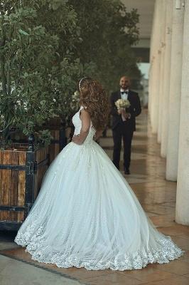 Forme princesse robe de mariée en dentelle délicat avec bretelle en broderie exquis longueur sol_5