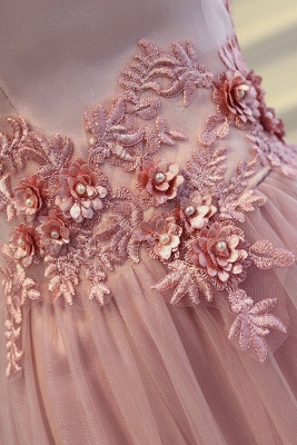 Elegant robe de soirée longue rose épaules nus robe de cocktail en tulle avec dentelle_4