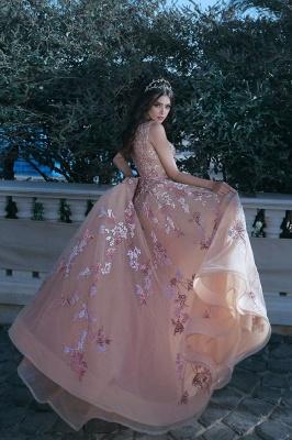 Forme Princesse Longueur ras du sol Bretelles spaghetti Tulle Robes de bal 2021 avec Appliques_3