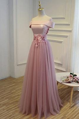 Elegant robe de soirée longue rose épaules nus robe de cocktail en tulle avec dentelle_2