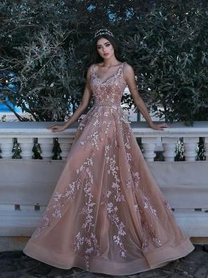 Forme Princesse Longueur ras du sol Bretelles spaghetti Tulle Robes de bal 2021 avec Appliques_2