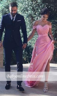 Elégante robe de cérémonie en dentelle délicat épaule nu longueur sol_1