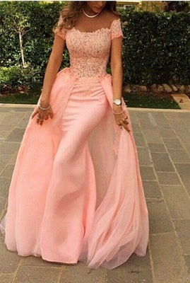 Forme Sirène/Trompette Longueur ras du sol Col U profond robe de cérémonie rose_1