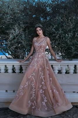 Forme Princesse Longueur ras du sol Bretelles spaghetti Tulle Robes de bal 2021 avec Appliques_1