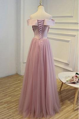 Elegant robe de soirée longue rose épaules nus robe de cocktail en tulle avec dentelle_3