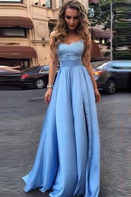 Forme Princesse Longueur ras du sol Sans bretelle Satin Elastique Robes de bal 2021 avec Dentelle_1