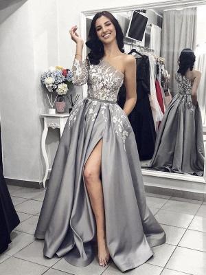 Robe de bal princesse longue épaules asymétriques avec dentelle | Robe de soirée princesse moderne manches longues_1