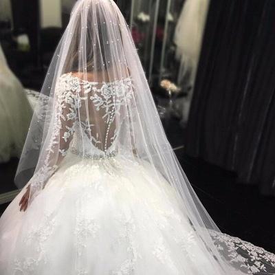 Forme Marquise Traîne mi-longue Col U profond Tulle Robes de mariée 2021 avec Appliques_3