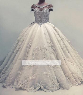 Robe de mariée princesse luxueuse avec cristaux | Robe de mariage princesse longue élégante_3
