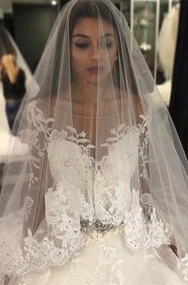 Forme Marquise Traîne mi-longue Col U profond Tulle Robes de mariée 2021 avec Appliques_1
