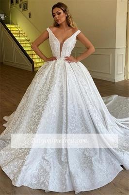 Robe de mariée princesse luxueuse avec motifs | Robe de mariage princesse col en V_2