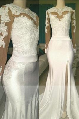 Robe de mariage robe de cérémonie élégante dentelle mousseline polyester boutonnage dans le dos_1